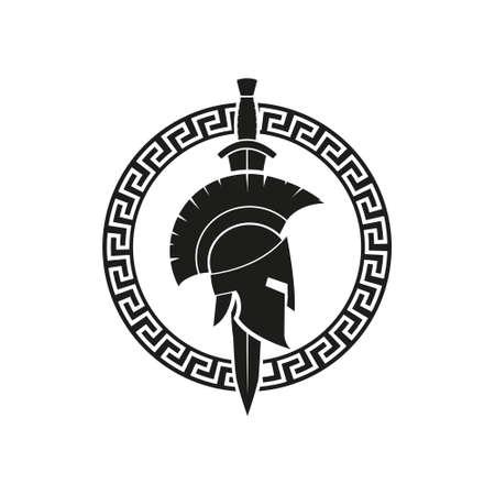 Vector illustration of spartan helmet logotype. Flat design. Isolated.  イラスト・ベクター素材