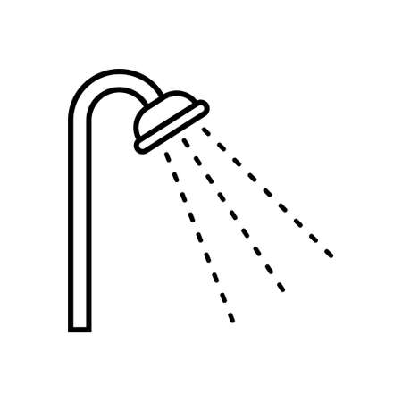 Shower icon in outline style. Vector illustration on white background. Isolated.  イラスト・ベクター素材