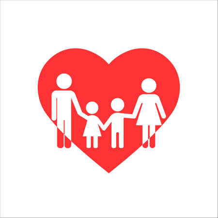 Family in heart icon. Vector illustration on withe background. Isolated.  イラスト・ベクター素材