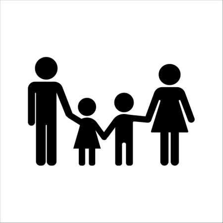 Family holding hands icon. Flat deisign. Isolated.