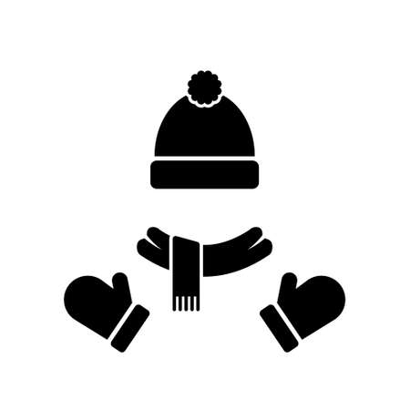 Winter hat, scarf and gloves. Flat design illustration. Isolated.