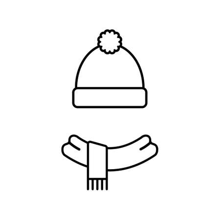 Scarf and hat icon design. Vector illustration. Isolated.