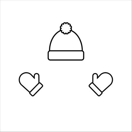 Winter hat and gloves. Outline design illustration. Isolated.  イラスト・ベクター素材