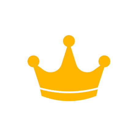 Gold crown icon. Flat style. Vector illustration.