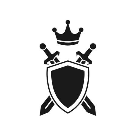 Shield, swords and crown. vector illustration. Isolated.  イラスト・ベクター素材