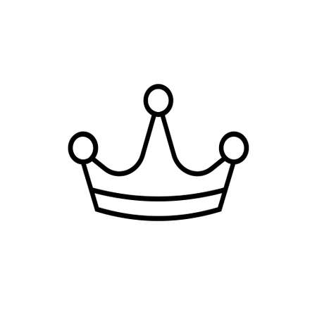 Black crown icon. Outline style. Vector illustration.