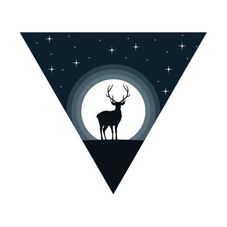Deer at night. Moonlight. Vector, flat design.