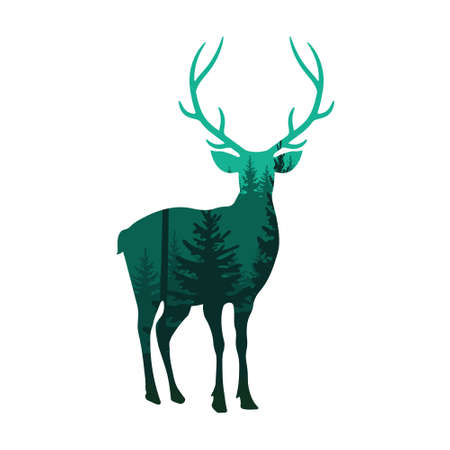 Wild deer in forest vector illustration. Silhouette of nature.