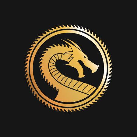 Golden logo of Dragon in circle. Vector Illustration.