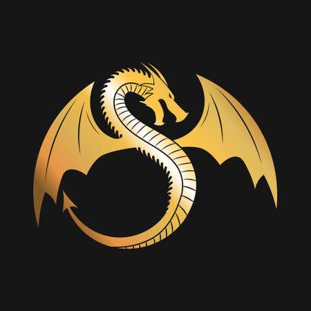 Golden logo of Winged Dragon. Vector Illustration.