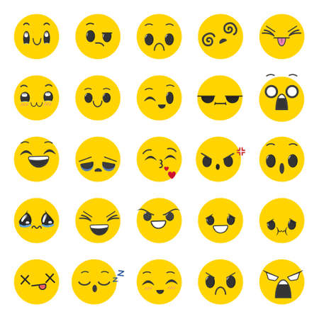 Set of expressions on face. Isolated vector illustration on white background