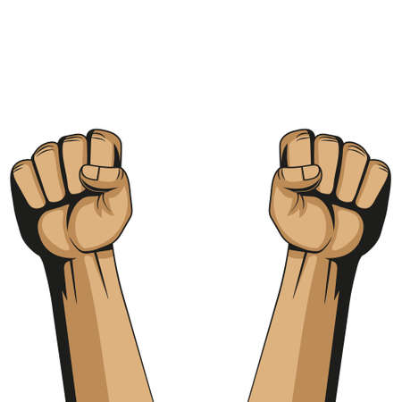 Vector illustration of two fist illustration. Protest concetpt.