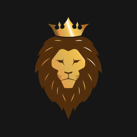 Lion with crown gold logo. Vector illustration.