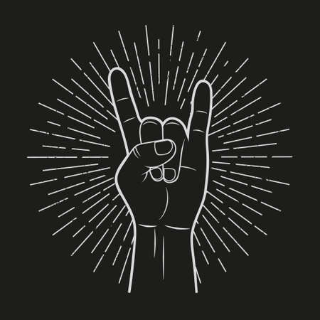 Hand show rock sign. Vintage style. Vector.  イラスト・ベクター素材