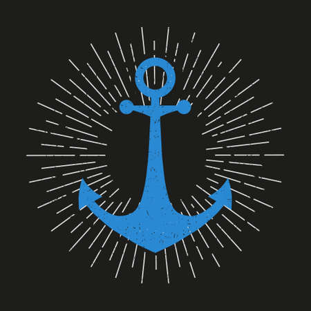 Blue anchor in retro style with grunge texture. Vector illustration.