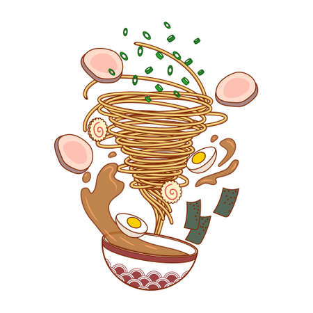 Vector illustration of ramen. Noodles tornado. Food. Vektorové ilustrace