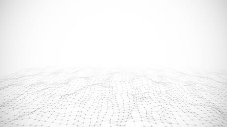 Abstraction composition on black and white backdrop. Connection structure. Background with connecting triangulars, dots and lines. 3d rendering.
