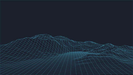 Abstract vector wireframe landscape background. 3D futuristic mesh mountains. 80s Retro illustration. Cyberspace technology valleys.