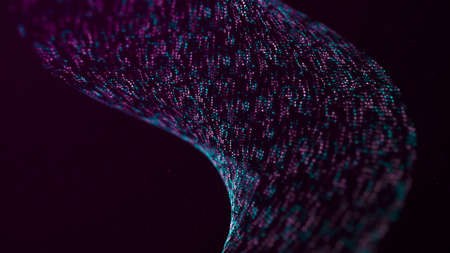 Wave of particles. Futuristic point wave. Abstract background with a dynamic wave. 3d rendering Stok Fotoğraf