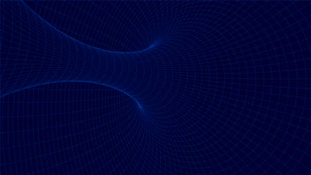 Abstract tunnel and wave background. Wireframe 3D surface tunnel. Abstract Wormhole. Vector Illustration.