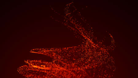 Whirlwind of particles of fire. abstract fragments. 3D rendering