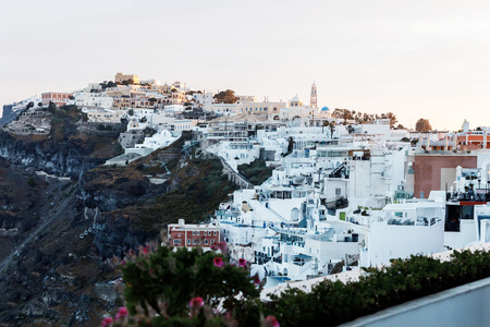 Picturesque view of the city of Santorini. White buildings, sea, mountains. Reklamní fotografie