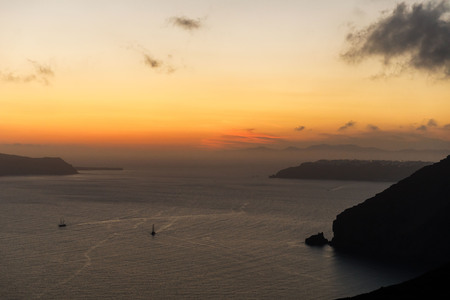 Elevated incredibly romantic sunset scene on Santorini.