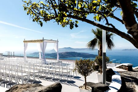 Beautifully arranged place for a wedding ceremony on the Greek coast