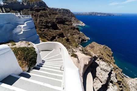 A typical stairway situated in the village of on the greek island of Santorini.