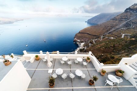 The sea view terrace at luxury hotel, Santorini island, Greece