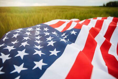 American flag lying on the grass. Foto de archivo