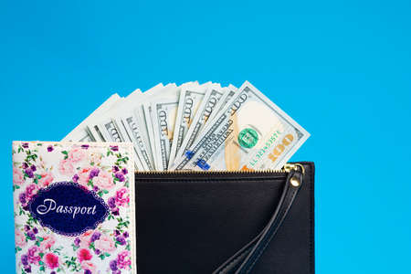 Dollar banknotes with passport and wallet on blue background.