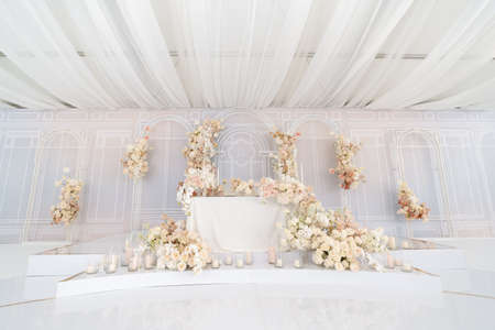 Beautifully decorated table for brides. A place to celebrate