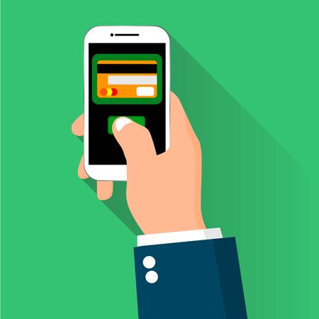 Mobile payment credit card hand holding phone Illustration