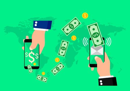 sms payment: Hands holding smart phones with banking payment apps.
