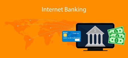 Concetti di internet banking, illustrazione, design piatto. Vettoriali