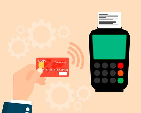 confirms: Pos terminal confirms payment by credit card. illustration.