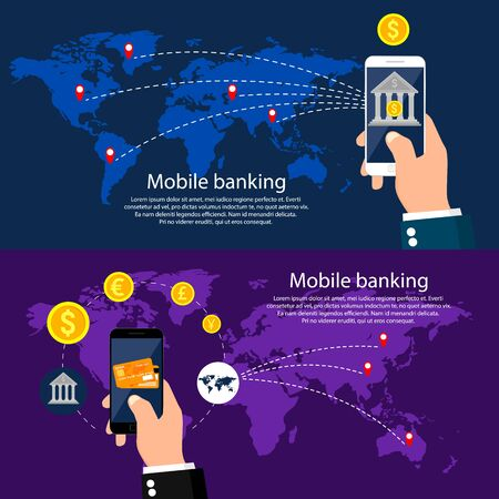 mobile banking: Mobile banking around world, infographic. illustration.