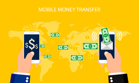 money transfer: Concept online banking, Mobile money transfer, financial operations.