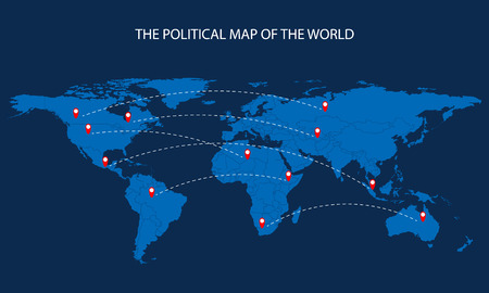 china business: The political map of the world, illustration.