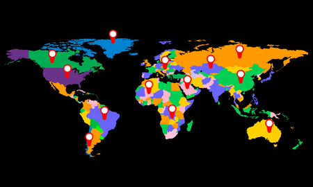 prc: Colorful world map with markers, illustration.