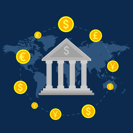 Monetary turn around the bank, global foreign exchange market, banking trade, banking system