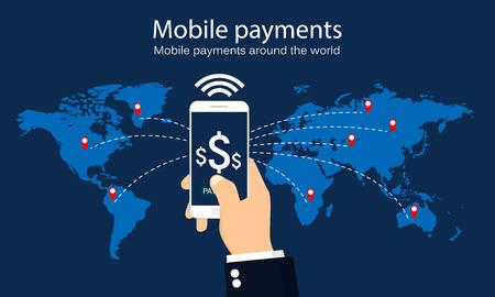 世界中の携帯電話の支払い。インフォ グラフィック。ベクトルの図。