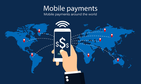 Mobile payments around the world. Infographic. Vector illustration. Иллюстрация