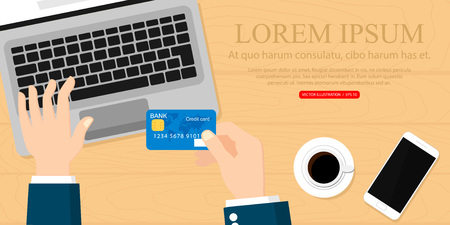 Hands holding credit card and using laptop. Online shopping. Vector illustration. Vectores