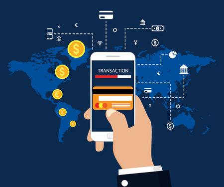 Money transaction, mobile banking and mobile payment. Vector illustration flat modern design