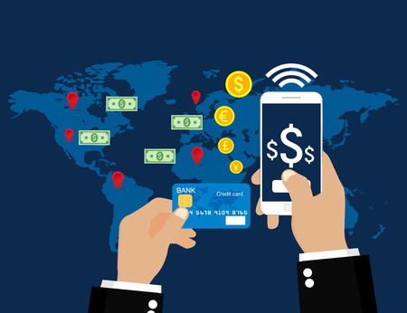 Online and mobile payments. Vector illustration flat design