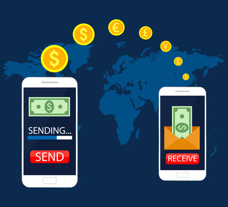 Concepto de transferencia de dinero móvil, banca móvil en línea, transferencia de operaciones financieras. Ilustración vectorial, diseño plano