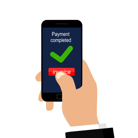 Payment completed message. Vector illustration flat design