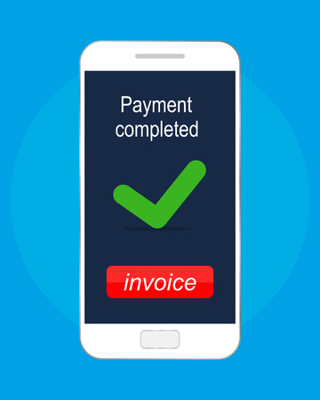 Payment completed message. Vector illustration icon, flat design